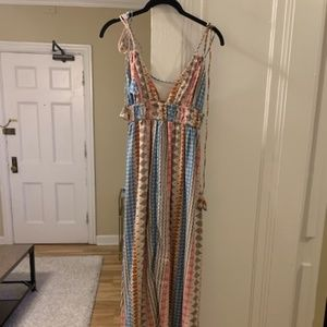 Multi-colored, Patterned, Maxi Dress with ties